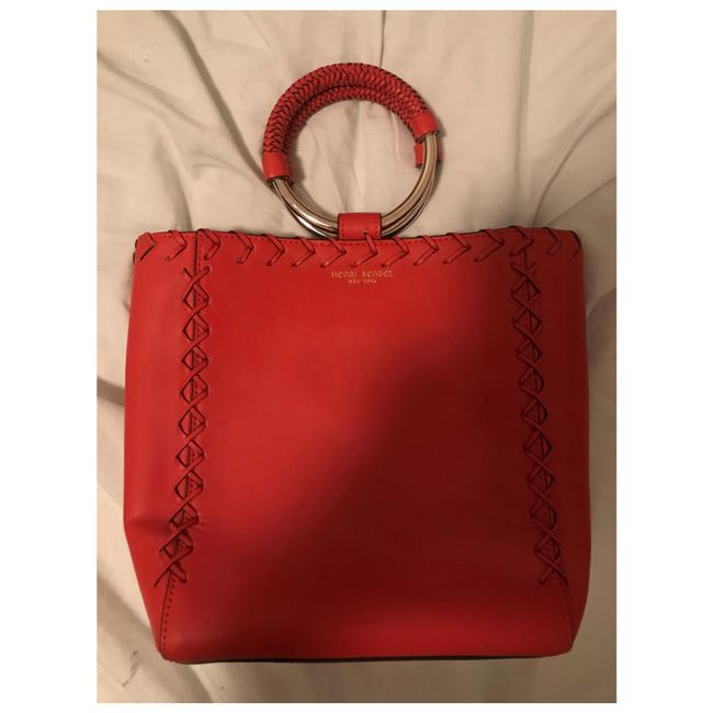 Item - With Woven Detail Coral Leather Baguette