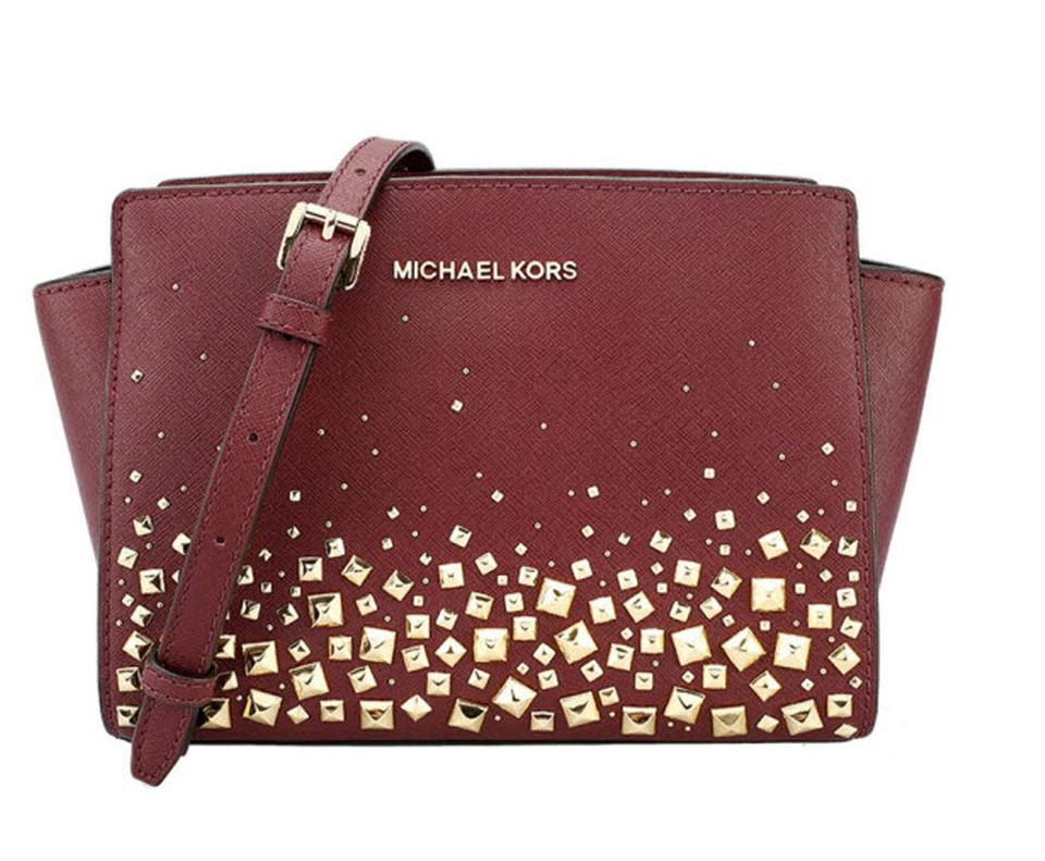 95f60889ed11 Michael Kors Selma Leather Handbag merlot red Messenger Bag Image 0 ...