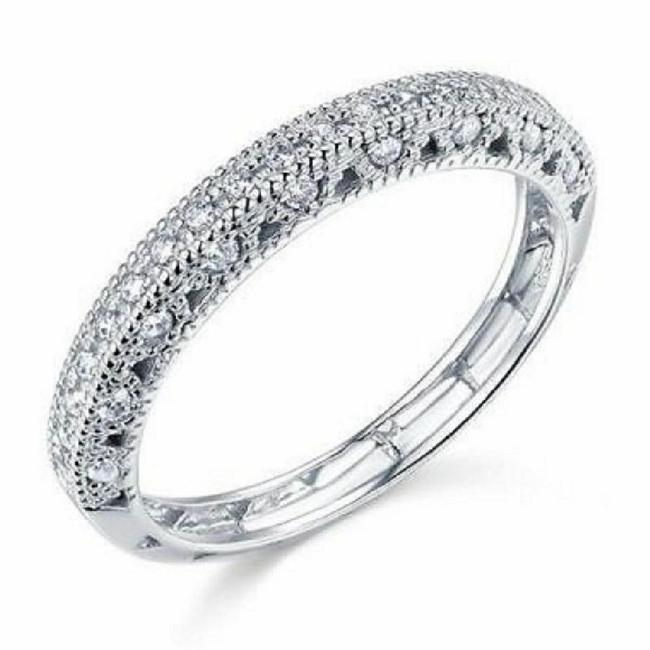 Item - White 14k Solid Gold Pave Size 7 Women's Wedding Band