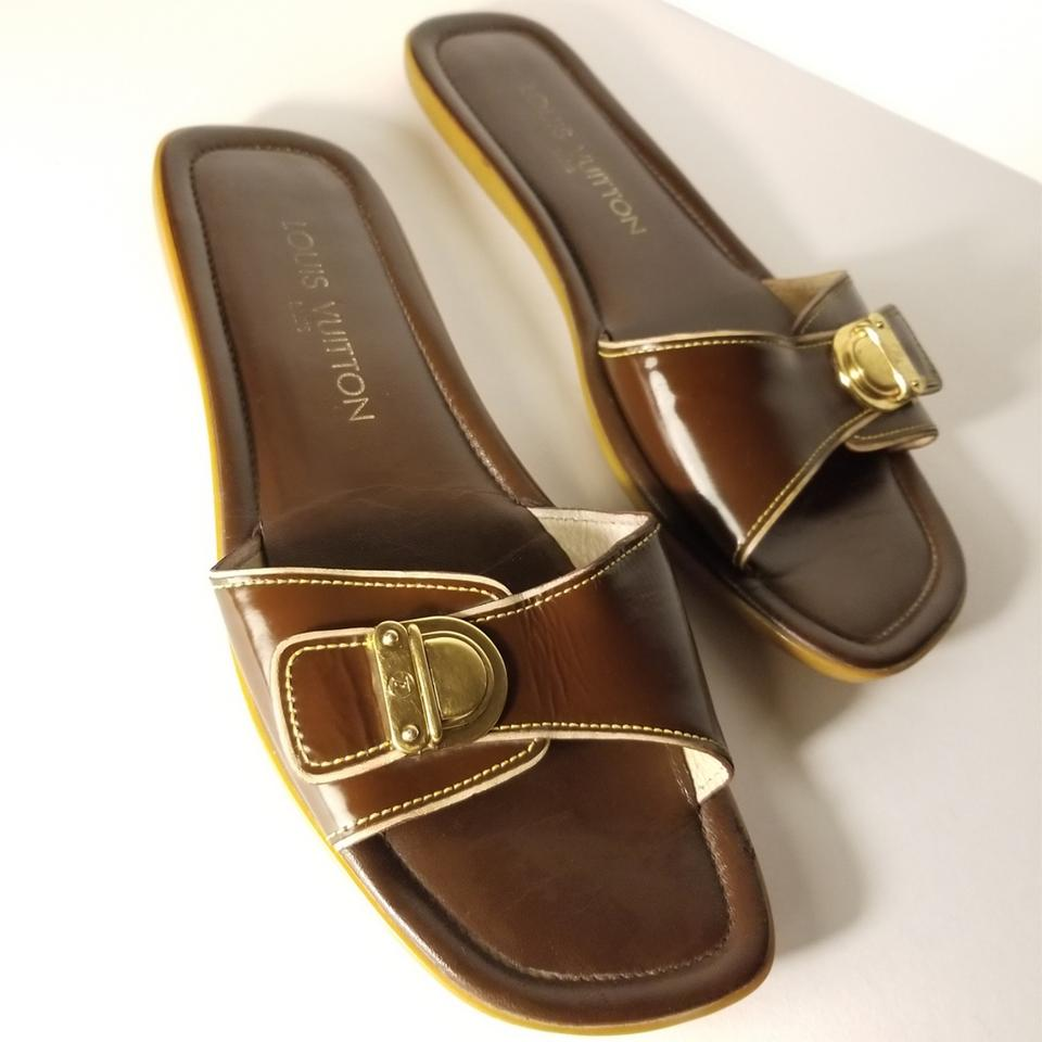 413f9a3ea Louis Vuitton Brown Gold Buckle Patent Mule Slide Sandals. Size  EU ...