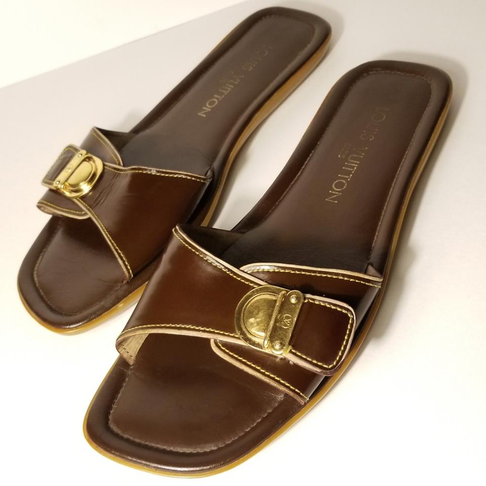 88f79001c Louis Vuitton Brown Gold Buckle Patent Mule Slide Sandals Size EU ...