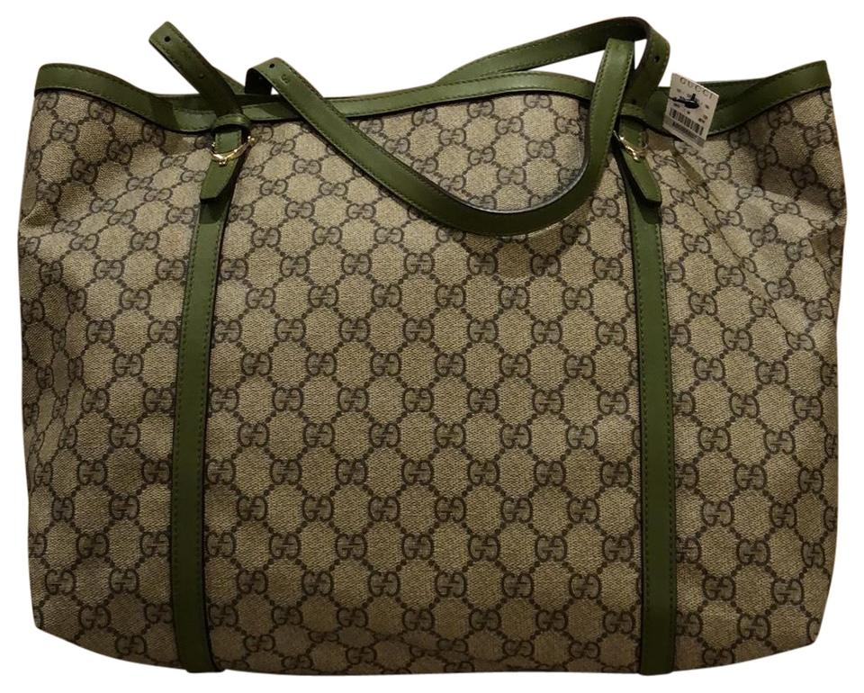 dca92380068 Gucci Gg Supreme Nice Beige   Green Coated Canvas Leather Tote - Tradesy
