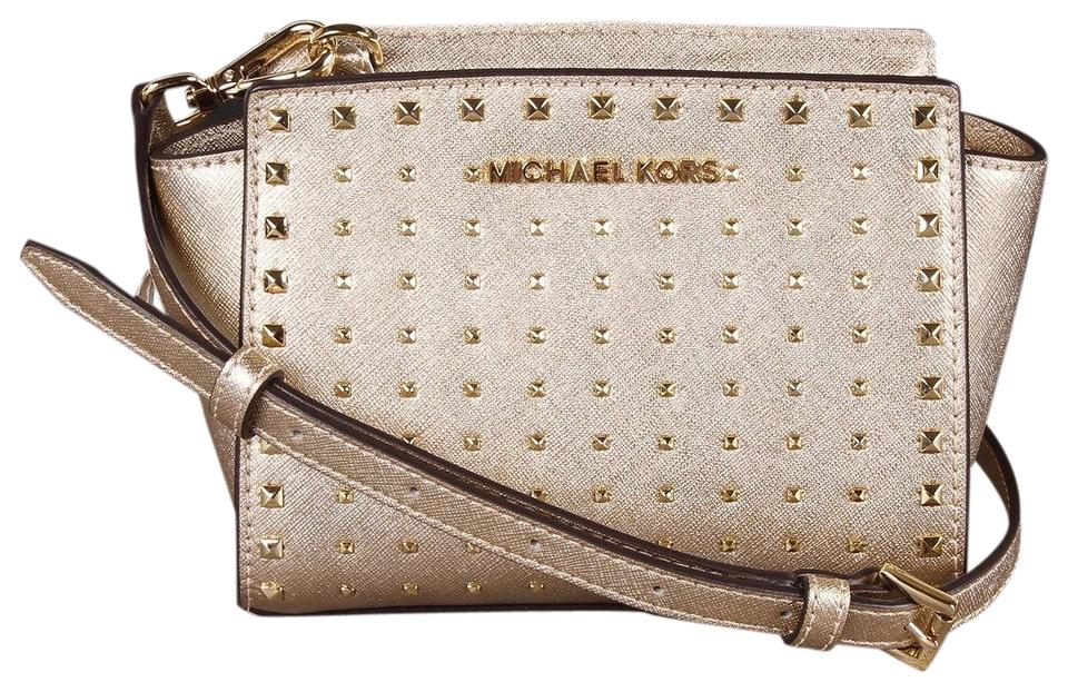 0af2b2692675 Michael Kors Selma Mini Stud Gold Leather Cross Body Bag - Tradesy