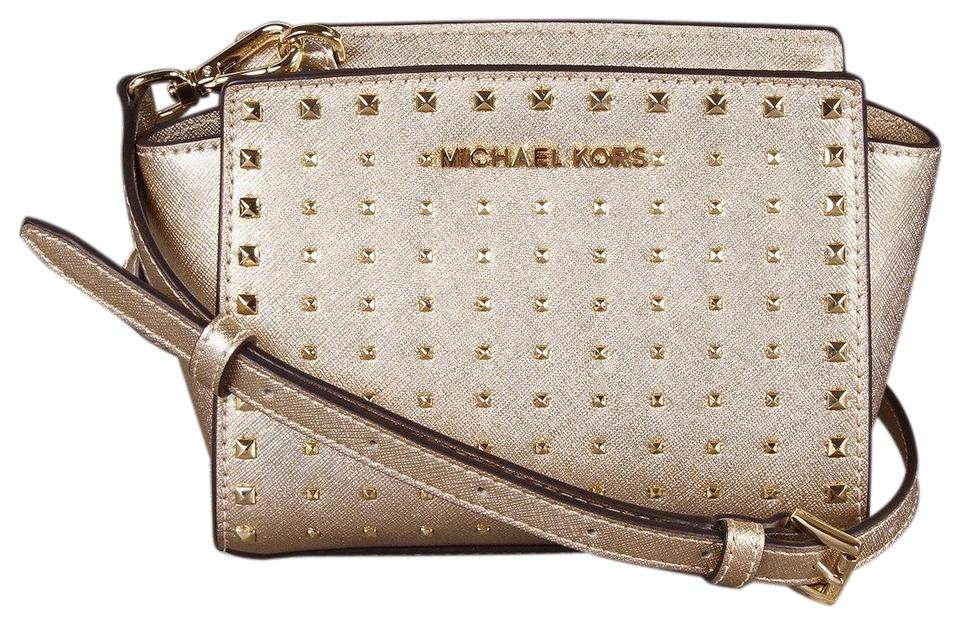 3c2591ae1c9a Michael Kors Selma Mini Stud Gold Leather Cross Body Bag - Tradesy