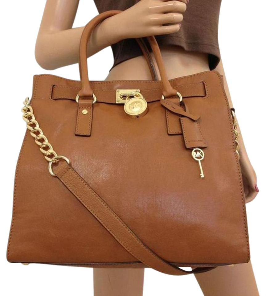 5727036bd5795 Michael Kors Hamilton Large (New with Tags) Lock and Key Luggage Brown Gold  Hardware Leather Tote