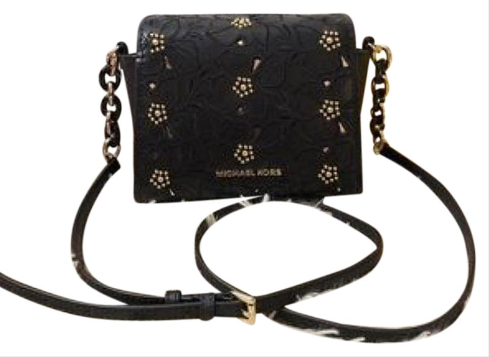 db6f307ba493 Michael Kors Sofia Small Stud Floral Black Leather Cross Body Bag ...