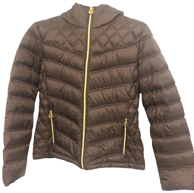 Item - Brown Quilted Nylon Packable Hooded Puffed Jacket Coat Size 8 (M)