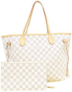 Louis Vuitton Damier Azur Canvas Neverfull Shoulder Bag