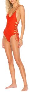 Acacia swimwear Acacia Swimwear in style Florence Crochet One Piece Swimsuit in color Neon Lava (red orange) size small. Super cute & sexy. Good for those who like v neck or more skin showing around the neck/boobs also very comfy because it's a one piece and can hide love handles or tummy!
