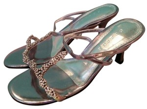 Céline Jeweled Metallic Patent Leather Silver Sandals
