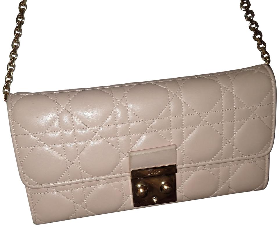 Dior Cannage Miss Promenade Pouch Beige Nude Lambskin Leather Cross ... 99d179026ab60