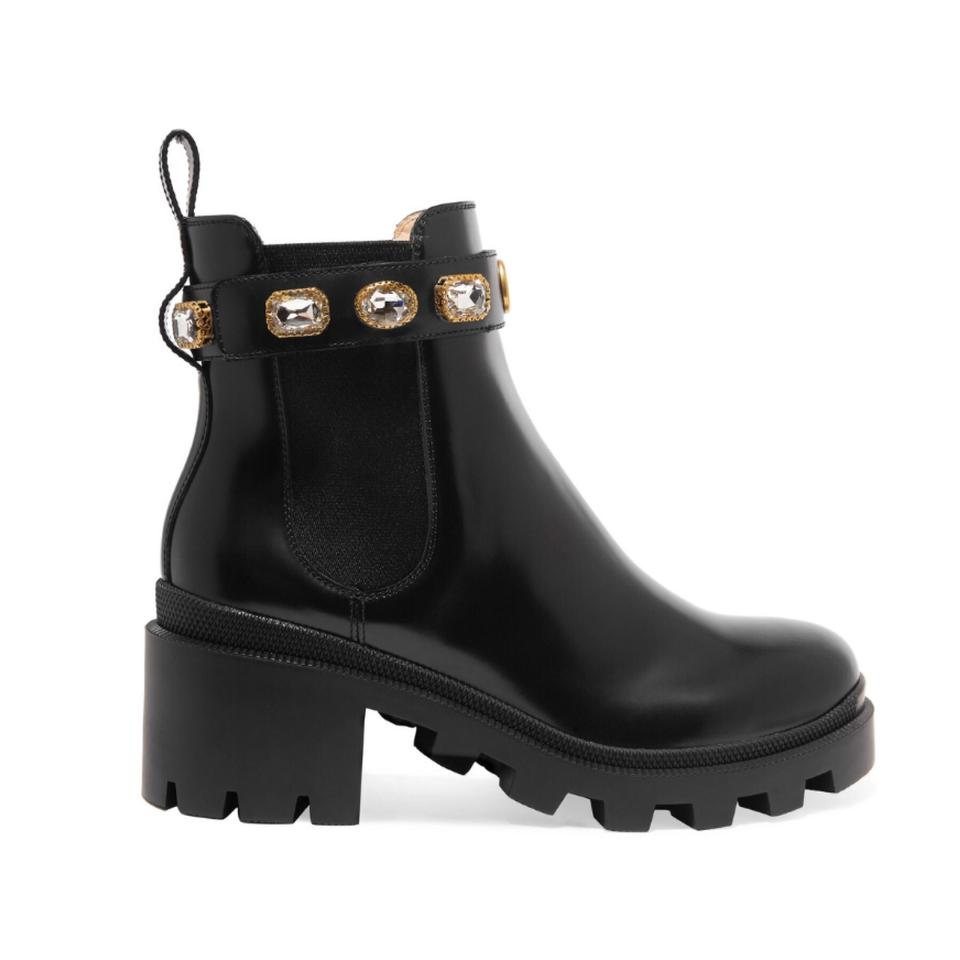 69702f319ea Gucci Trip Logo Crystal Embellished Chelsea Leather Boots Booties ...