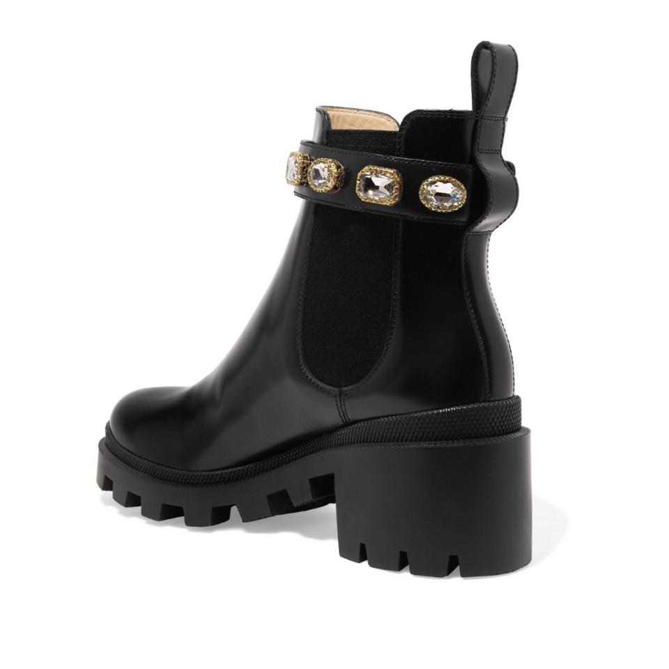 c06003f1425 Gucci Trip Logo Crystal Embellished Chelsea Ankle Boots Booties Size ...