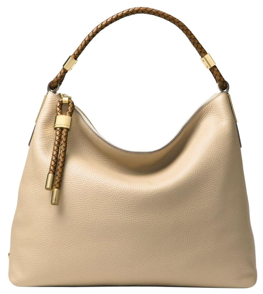 d6ad86202b99 Michael Kors Skorpios Large Pebbled Sand Leather Shoulder Bag - Tradesy