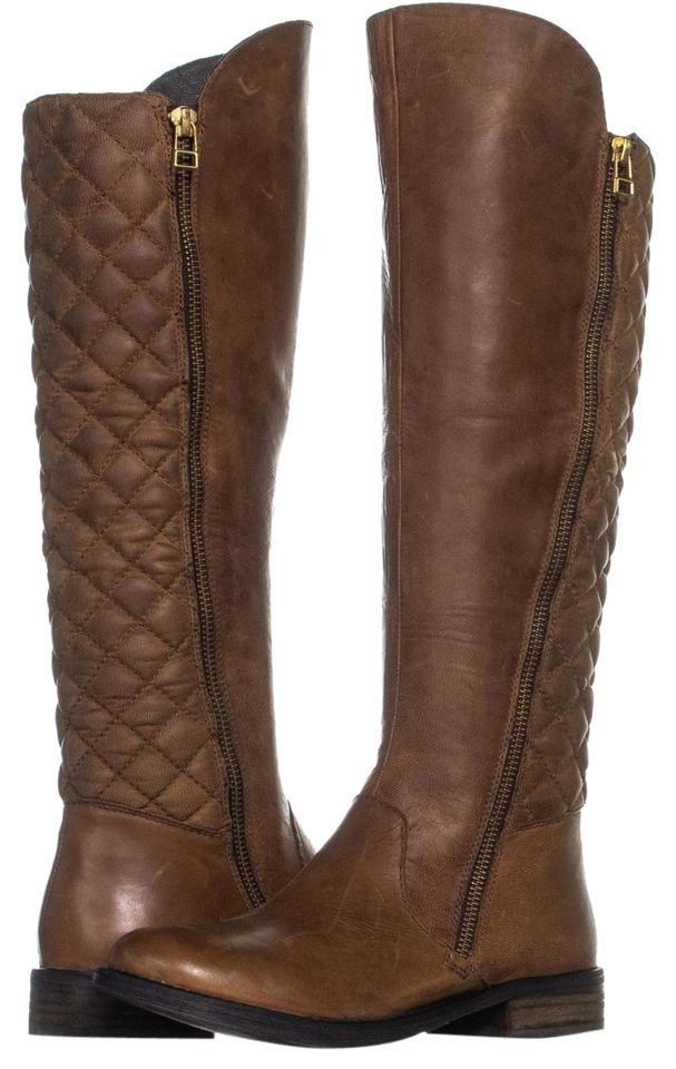 ee5eb03994c Steve Madden Brown Northsde Quilted Tall Motorcycle Zip-up 467 Cognac Boots  Booties