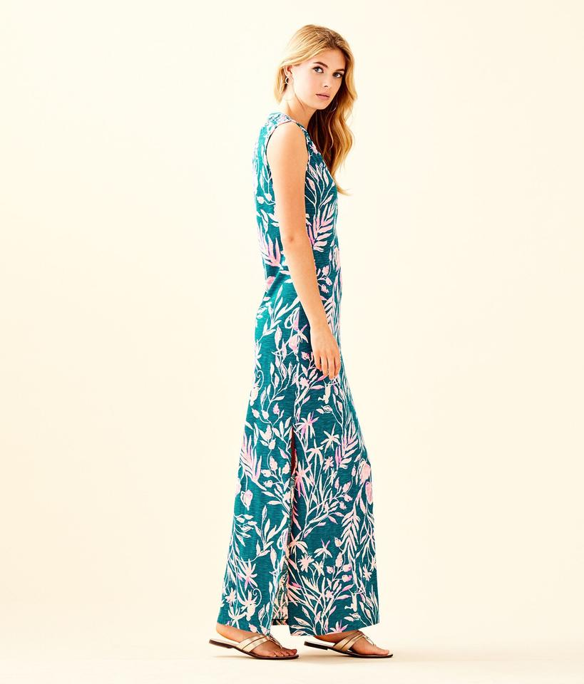 1796a5c3fc91f8 Lilly Pulitzer Tidal Wave Essie Long Casual Maxi Dress Size 4 (S ...