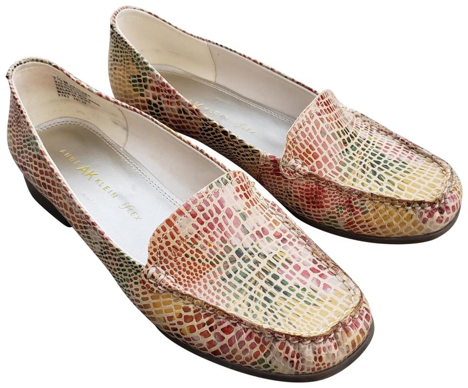 f33c57004a9 Anne Klein Leather Faux Snakeskin Square Toe Multi-Colored Flats Image 0 ...