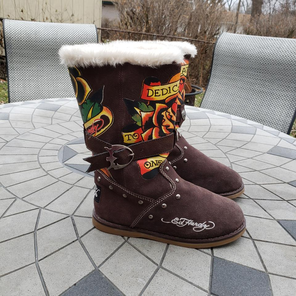 b1d4b90c898 Ed Hardy Brown/Yellow/Orange/Red Snowblazer Suede Hand-painted Tattoo  Boots/Booties Size US 7 Regular (M, B)