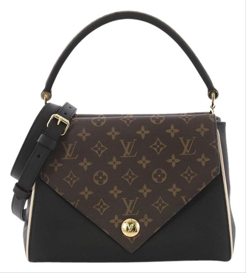 4ef85604cf49 Louis Vuitton Double V Handbag and Monogram Canvas Black Calfskin ...