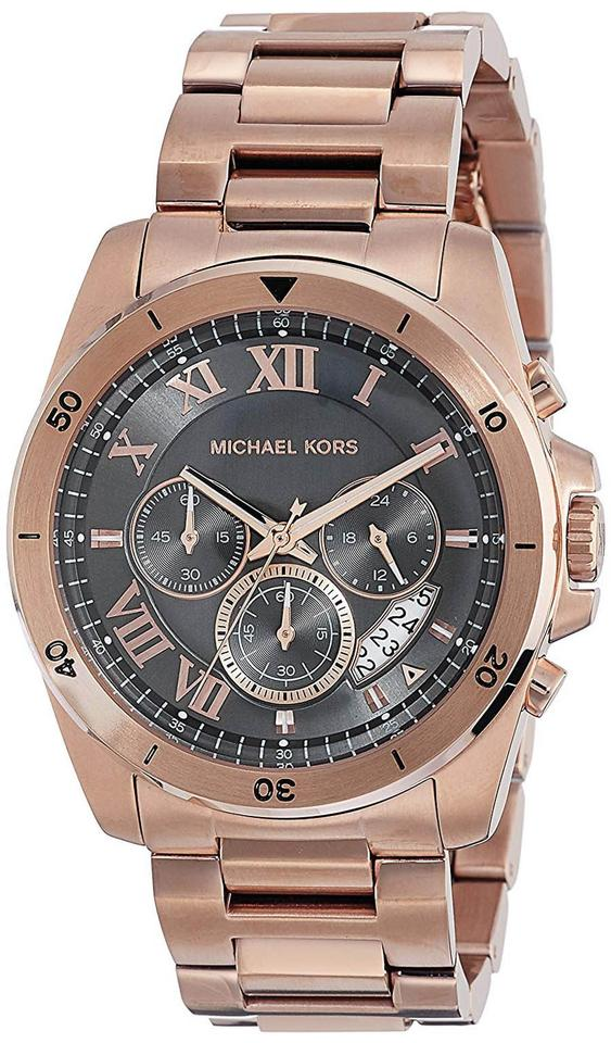 940a4ec9c3c8 Michael Kors Rose Gold Brecken Stainless Black Dial Chronograph Mk8563 Watch