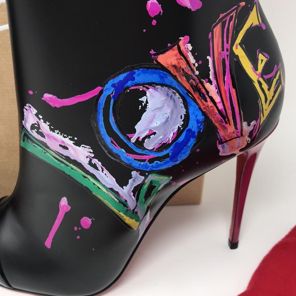 0dce9fee4cb3 Christian Louboutin Black Multi New In Love 100 Calf Love Boots Booties  Size EU 37 (Approx. US 7) Regular (M