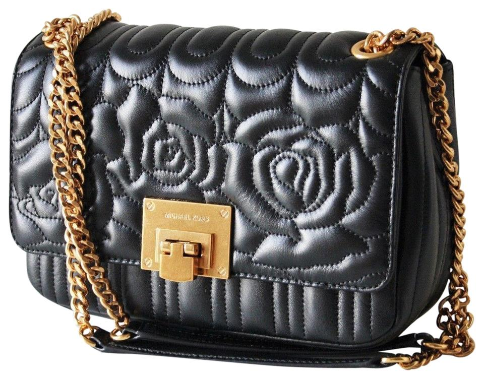 bba8b9ff4ea0 Michael Kors Vivianne Chain Quilted Floral Sloan Black Leather ...