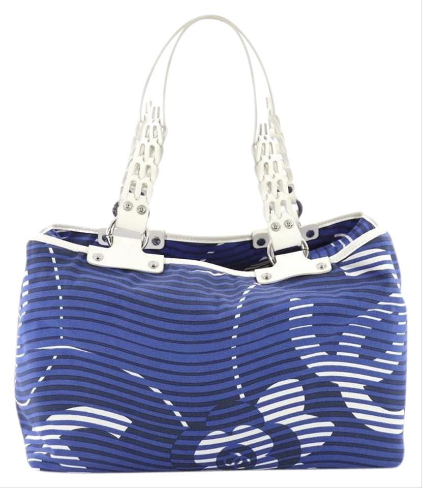 e7606ac1688002 Chanel Camellia Beach Printed Large Blue Terry Cloth Tote - Tradesy