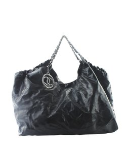 Chanel Patent Leather Pre-owned Silver-tone Adult Tote in Brooklyn Cabas