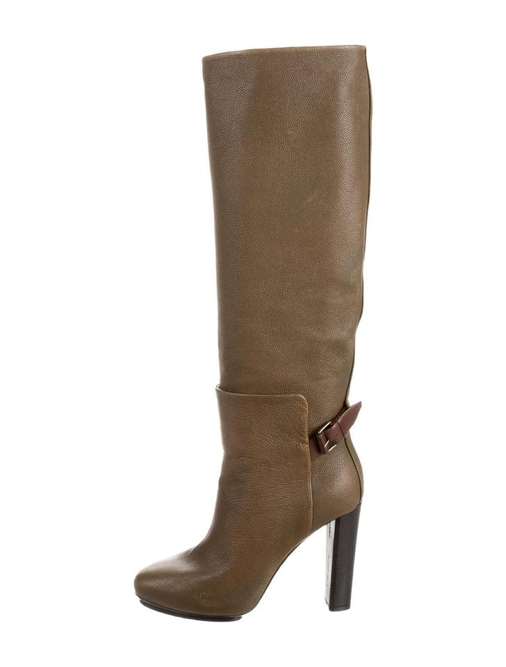 cb5e2379bc0 Balenciaga Brown Olive Leather Knee-high Boots Booties Size US 7.5 ...