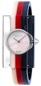 Gucci Vintage Web Mother of Pearl Dial Ladies Resin Bangle Watch