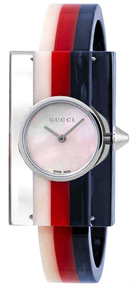 6facf60488b Gucci Vintage Web Mother of Pearl Dial Ladies Resin Bangle Watch Image 0 ...