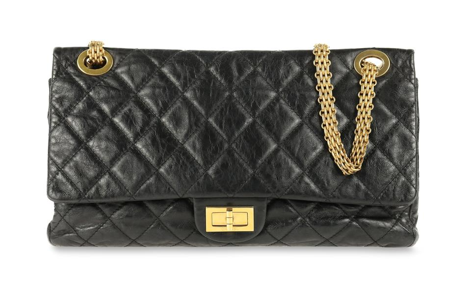 929ebb01bcb1e1 Chanel 2.55 Reissue 228 Black Calfskin Leather Shoulder Bag - Tradesy