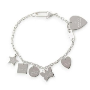 Gucci NWT Trademark Charms Sterling Silver Bracelet Interlocking G