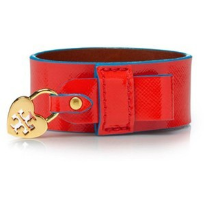Tory Burch Alden Heart Charm Cuff Bracelet Patent Leather