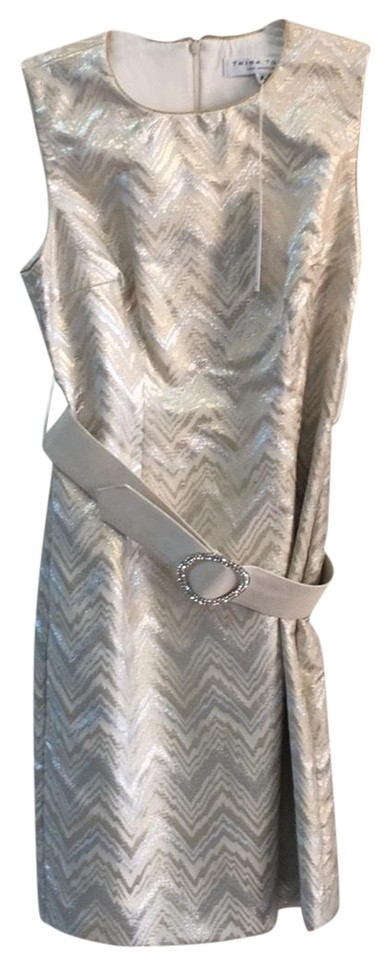 69f223929b45 Trina Turk Off White Gold and Silver 2100930 Cocktail Dress. Size: 8 ...