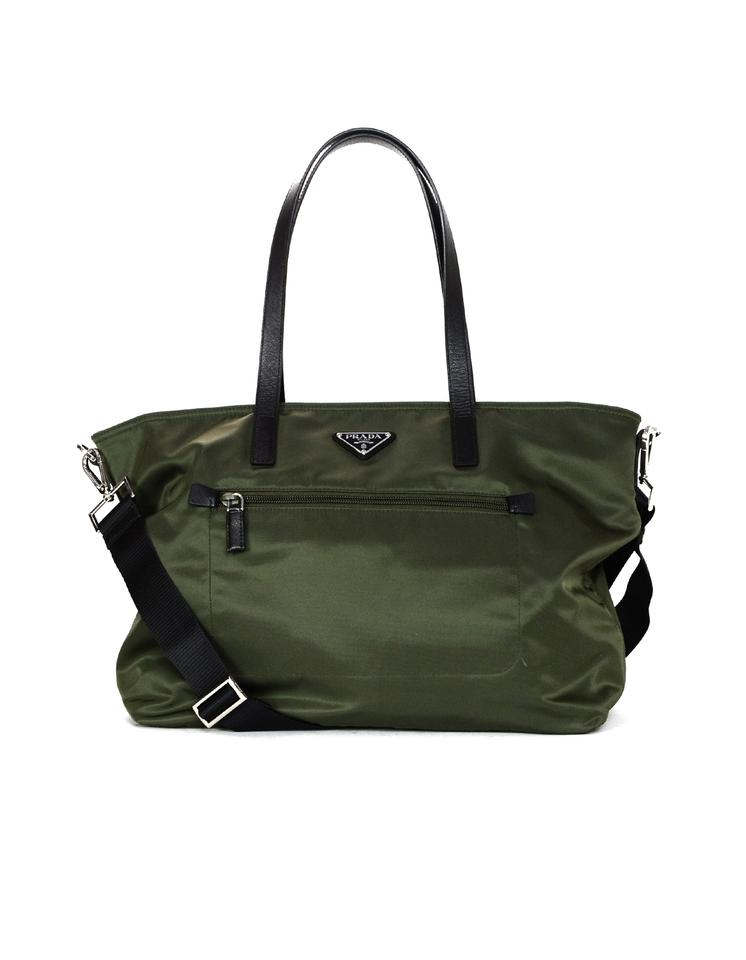 a2f37992c907 Prada Black Leather Militare Vela Zip-front Tote with Strap Green Nylon  Cross Body Bag