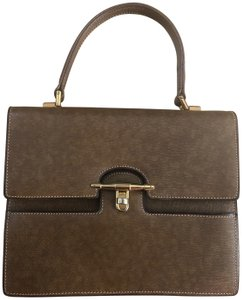 Gucci Vintage Leather Made In Italy Flap Turn Lock Satchel in Brown