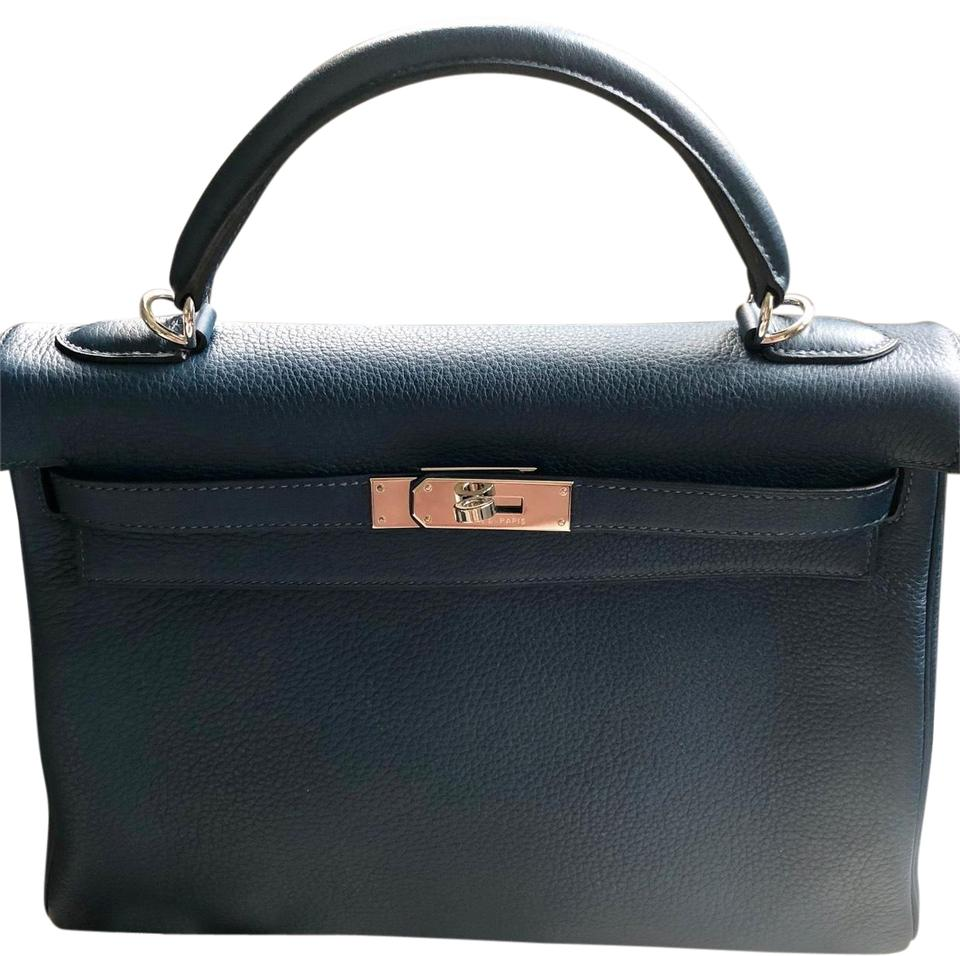 6e1ff291a8 Hermès Kelly Taurillon Leather Palladium Hardware Tote in Blue de Prusse  Image 0 ...
