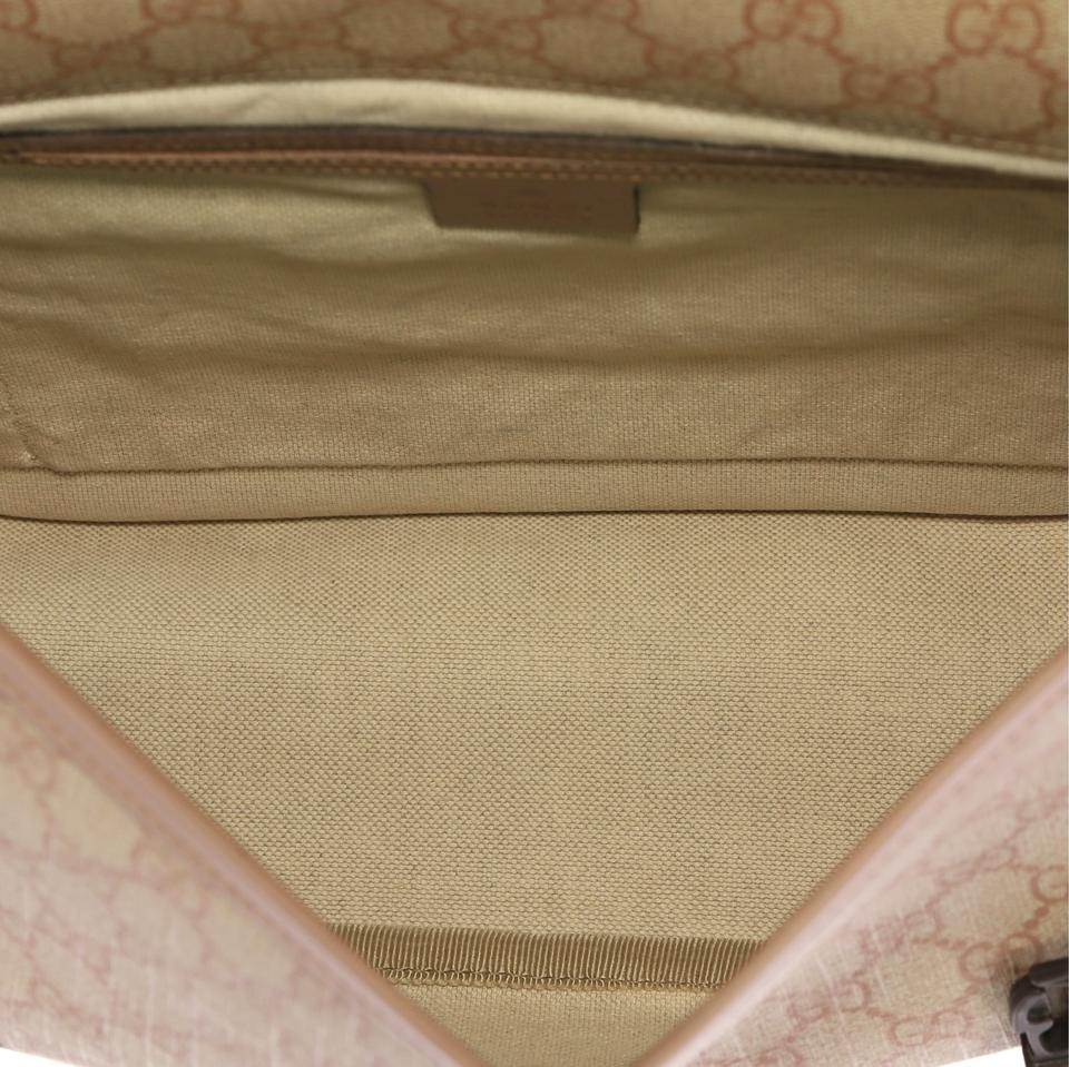 ddaafbb8cc78 Gucci Buckle Gg Coated Medium Pink Canvas Messenger Bag - Tradesy