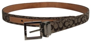 Coach Signature Jacquard/Leather Reversible Belt