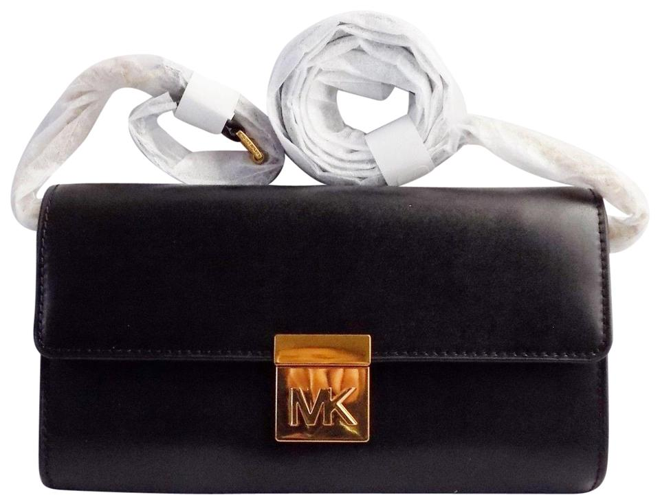 fbabc5df4ed3c2 Michael Kors Clutch Mott Mindy Wallet Black Leather Cross Body Bag ...