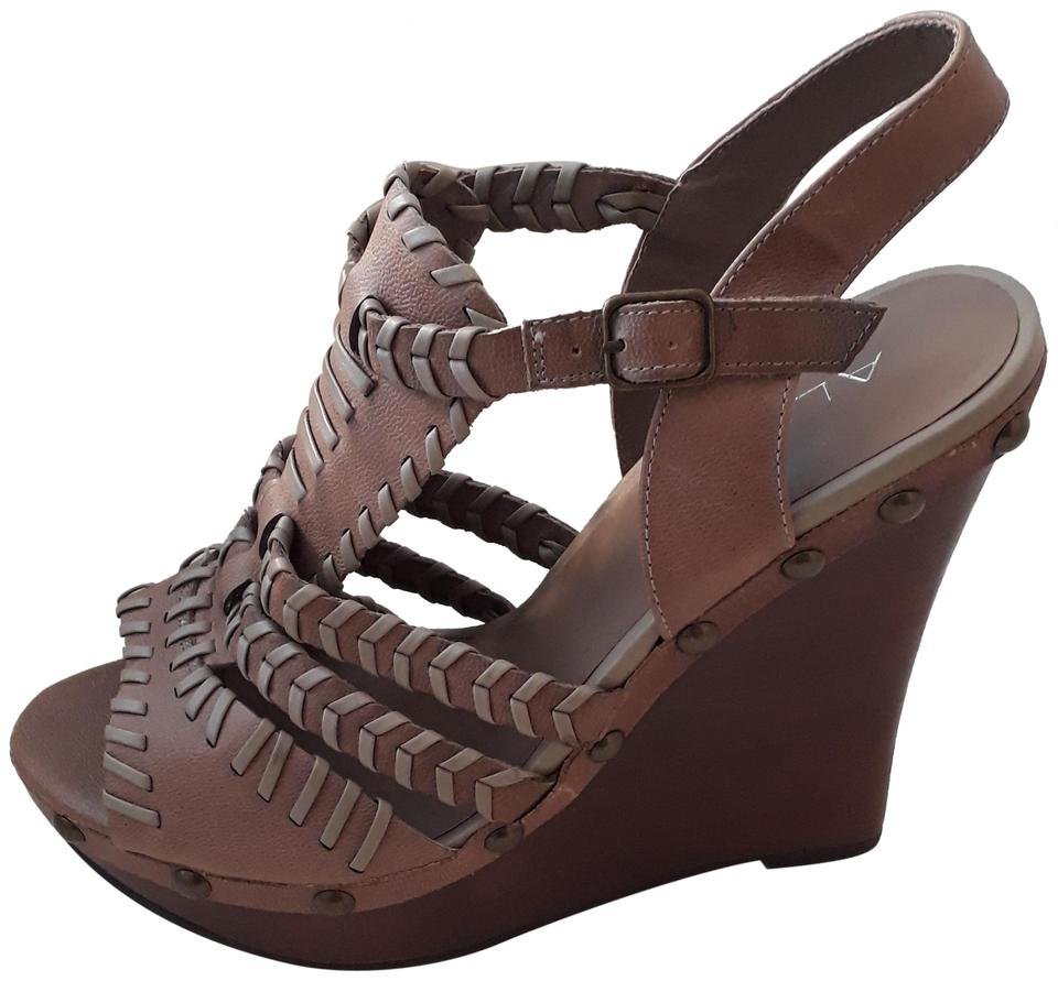 0d0cca2840f ALDO Camel Topstitched Strappy Open Toe Sandals 9 ( ) Wedges Size EU ...