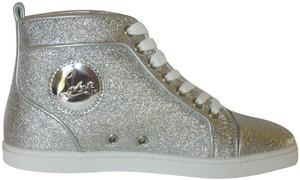 Christian Louboutin With Box Red Sole Tennis Silver Athletic