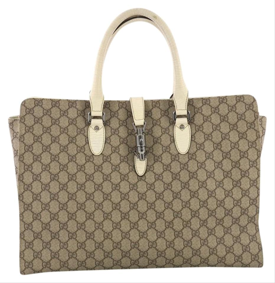 d3e35205b249 Gucci Jackie Soft Gg Coated Large Brown Canvas Tote - Tradesy