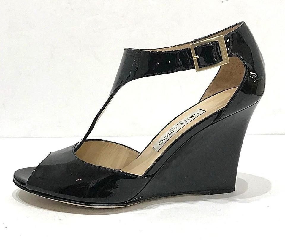 ed1440ad7753 Black Sandal Patent Leather T-strap 7.5 37.5 Heels Pumps Wedges