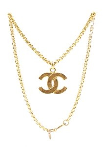 Chanel RARE CC Hammered Matte gold hardware long chain necklace