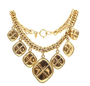 Chanel RARE CC Diamond Quilted Charms gold hardware chain necklace