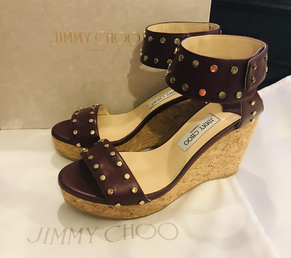 ecd99abd9348 Jimmy Choo Burgundy with Gold Studs Nelly 100mm Leather Cork ...