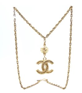 Chanel Rare CC Drop Charm Gold Textured Long Chain Necklace
