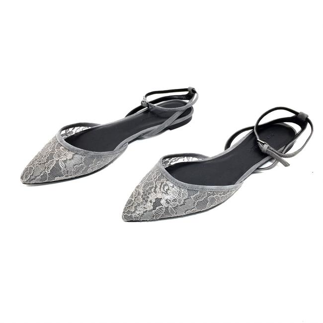 Item - Gray W Lace & Suede Pointed W/ Ankle Straps Flats Size US 7.5 Regular (M, B)
